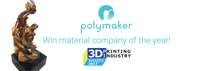 Polymaker win 'Material Company of the year' at 2017 3D Printing Industry Awards