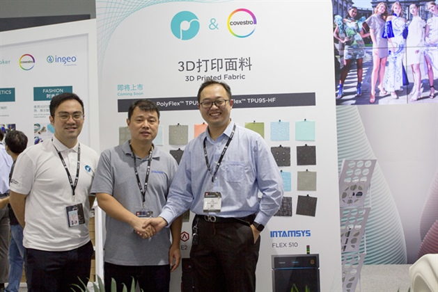 CEO of INTAMSYS Charles Han (middle), Polymaker VP Hang Qu (right) and Polymaker Strategic Business Development department senior manager Raymond Huang (left)